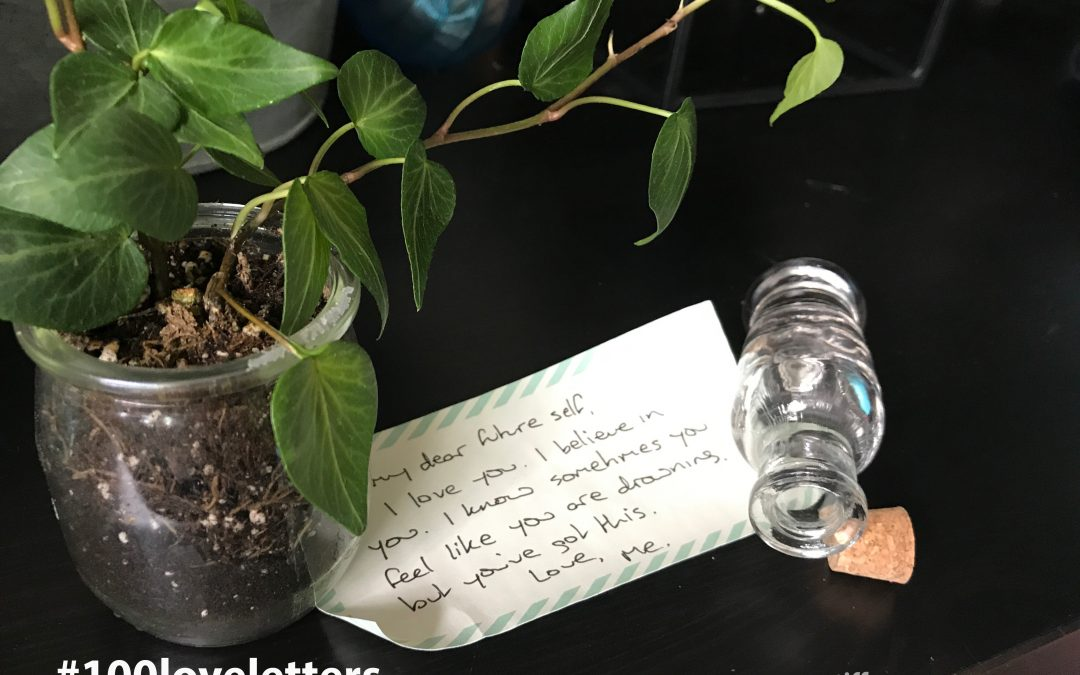 "Picture of a green ivy in a small pot, with a love letter addressed to ""dear future self."""